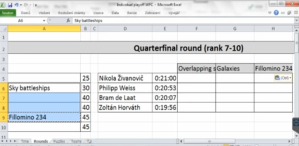 A table of participants, puzzles and starting times for the quarter final.